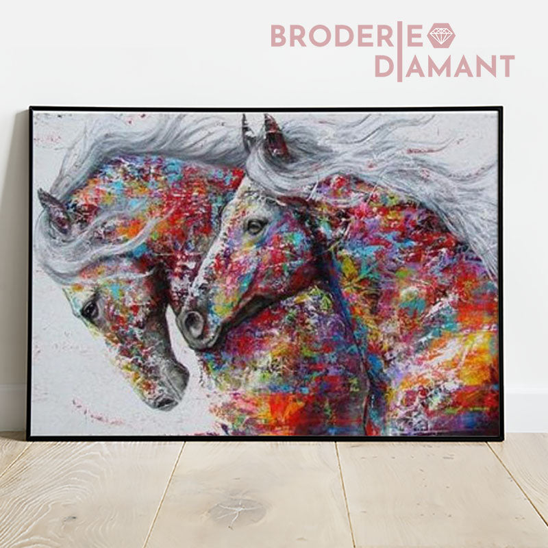 broderie diamant chevaux multicolore