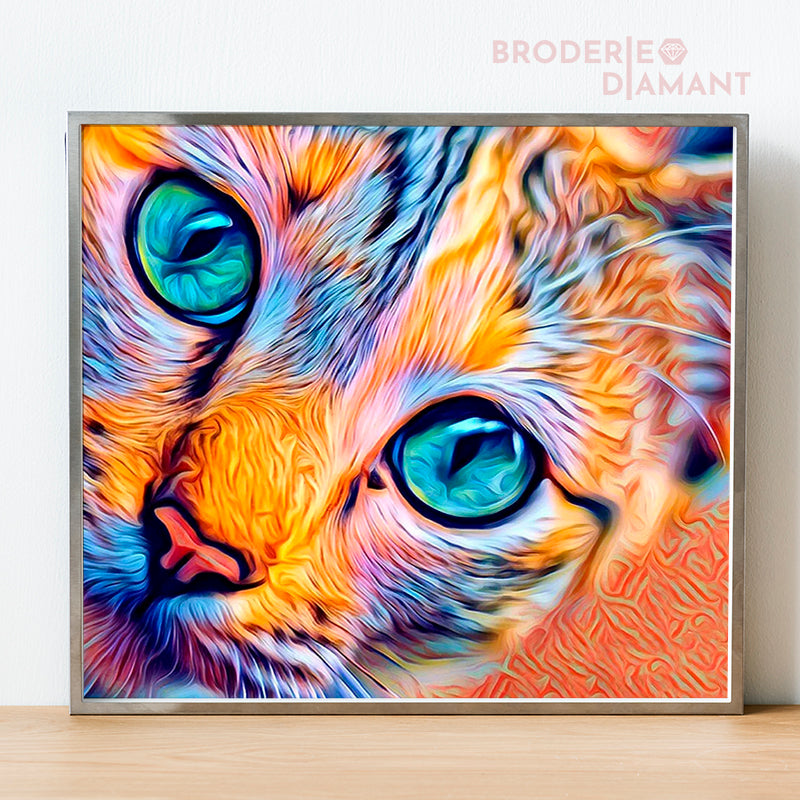 Broderie diamant Chat multicolore |