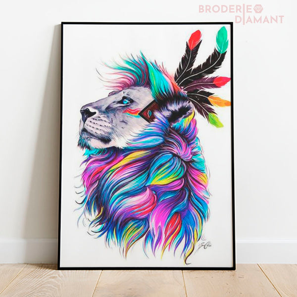 diamond painting lion multicolore