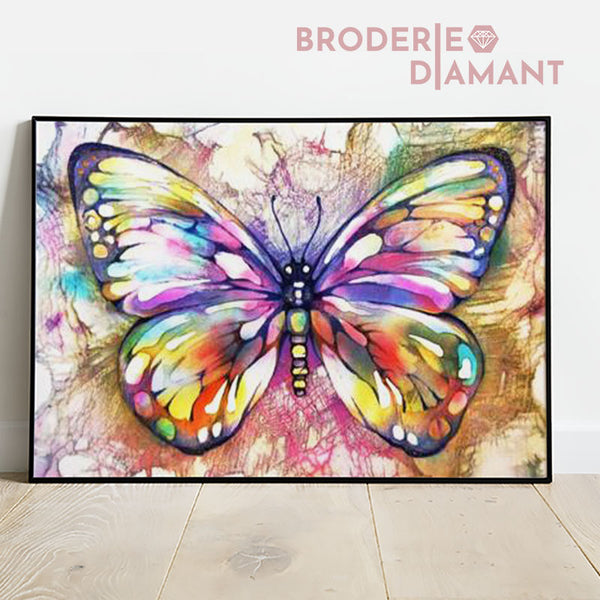 broderie diamant papillons multicolore