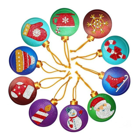 Lot de 10 boules décorations de Noel Broderie Diamant