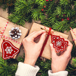 Lot de 10  décorations de Noel Broderie Diamant