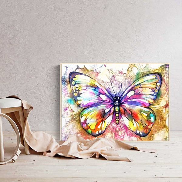 diamond painting papillon multicolore