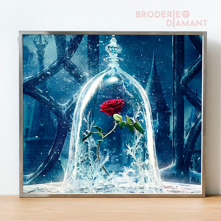 broderie diamant rose hivernale