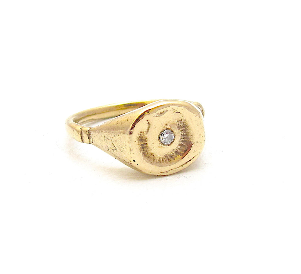Fossil diamond signet ring
