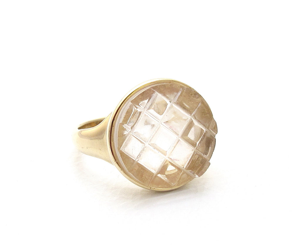 Mosaic crystal quartz ring
