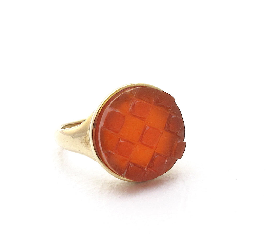 Mosaic red agate ring