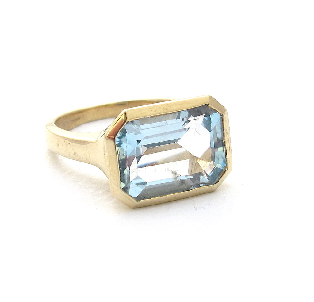 Deco blue topaz ring