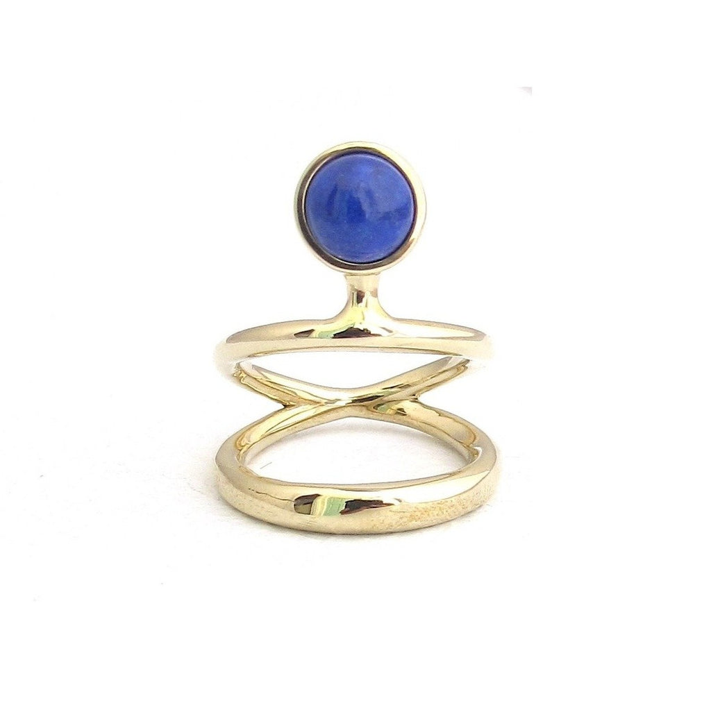 Vine Lapis dual band gold ring