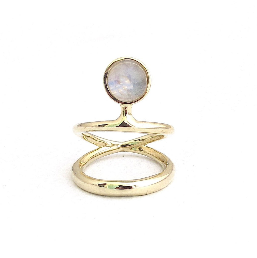 Vine dual band moonstone ring
