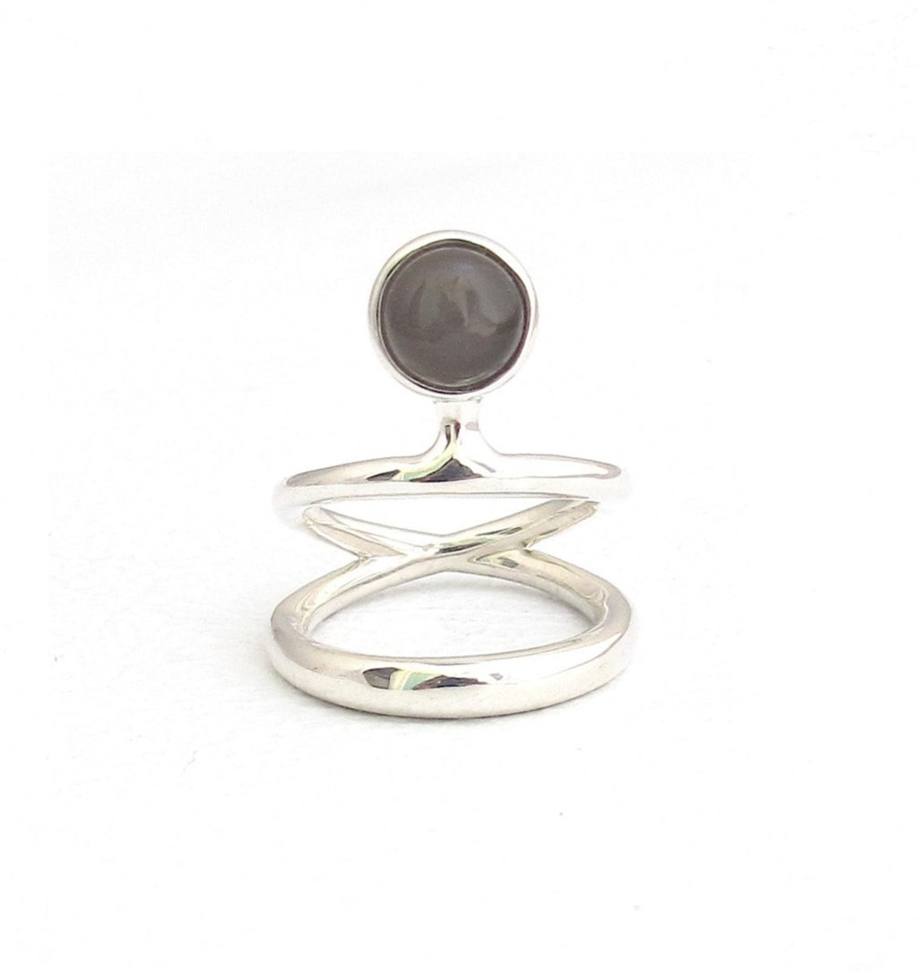 Vine dual band black moonstone silver ring