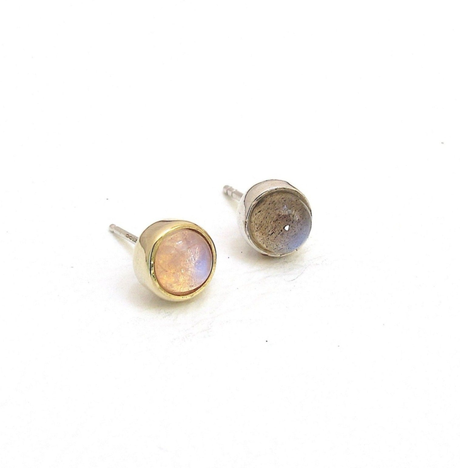 Vine moonstone stud earrings, Vine Labradorite stud earrings