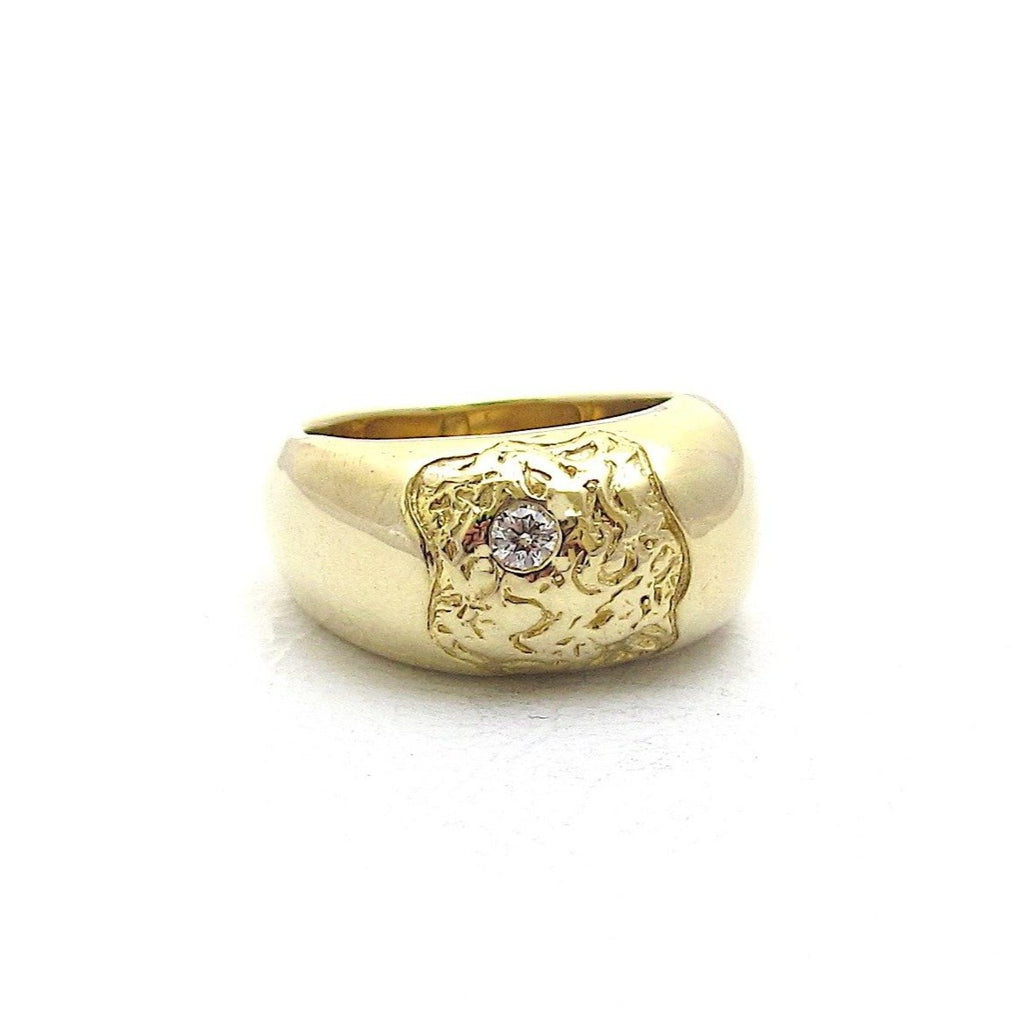 Fragment domed diamond signet ring