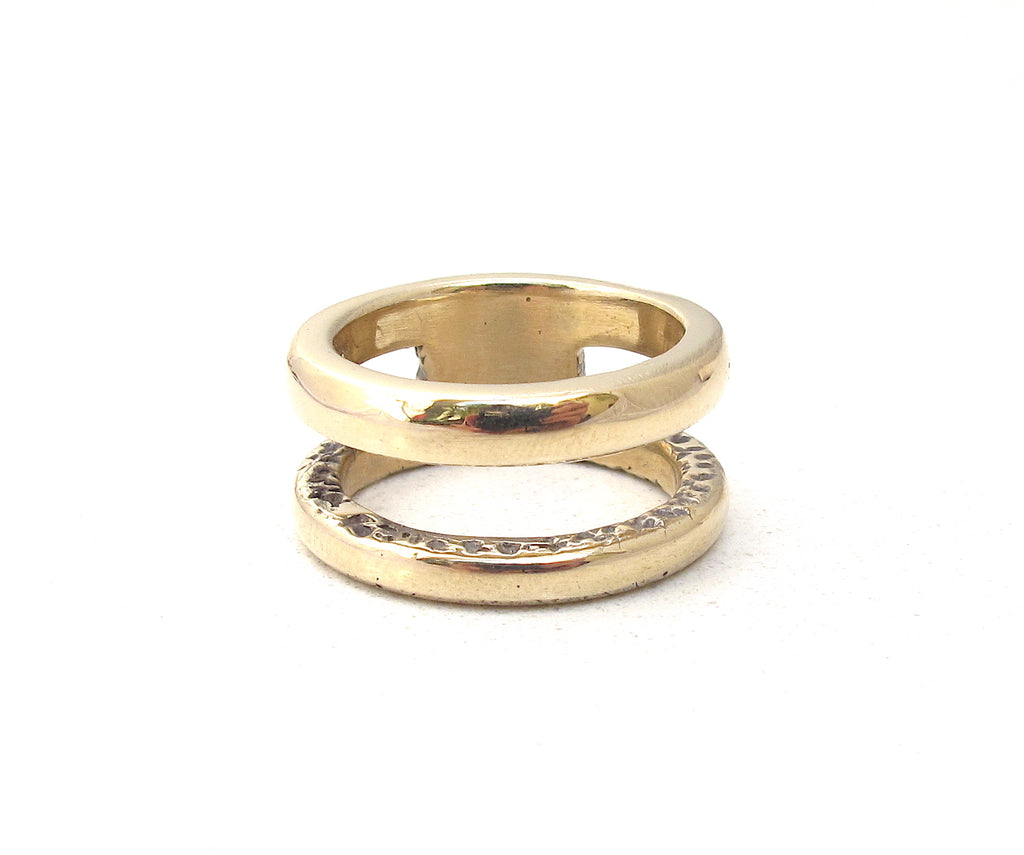 Dual band ring, Gold dual band ring
