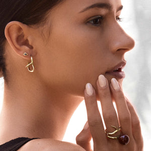 Eye sapphire stud earring, Thorn hoop earring, Globe red Jasper ring, Thorn ring