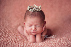 Mini Tiara Crown for Newborn - Baby Photo Prop Crystal and Rhinestone Round 4003
