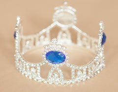 Mini Tiara Crown for Newborn - Baby Photo Prop Crystal and Rhinestone Round Blue Jewel #4035
