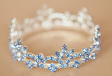 Mini Tiara Crown for Newborn - Baby Photo Prop Crystal and Rhinestone Round Blue Short #4030