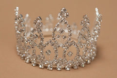 Crystal Mini Tiara Crown for Newborn - Baby Photo Prop Crystal and Rhinestone Round 4063