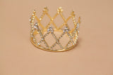 Mini Tiara Crown for Newborn - Baby Photo Prop Crystal and Rhinestone Round Gold Cross 4062