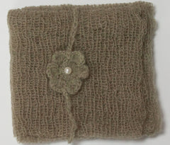 Olive Green Mohair Wrap and Matching Headband