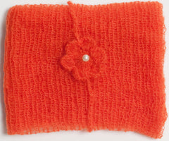 Orange Mohair Wrap and Matching Headband