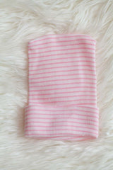 Pink and White Striped Girl Single Ply Newborn Hospital Hat - Baby Beanie - Craft Supplies