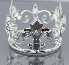 Mini Tiara Crown for Newborn - Baby Photo Prop Crystal and Rhinestone Round Silver Saint #4064