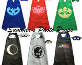 Personalized PJ Mask Cape and Masks set SOLID costume Choice of Gekko, Catboy, Owlette Luna Girl Romeo and Night Ninja Party Favor Birthday