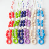 Copy of 16 Colors to Choose From Silicone Teething Necklace For Moms and Teething And Nursing Babies BPA Free Oval with Circle Pendant Chewable Teething Beads