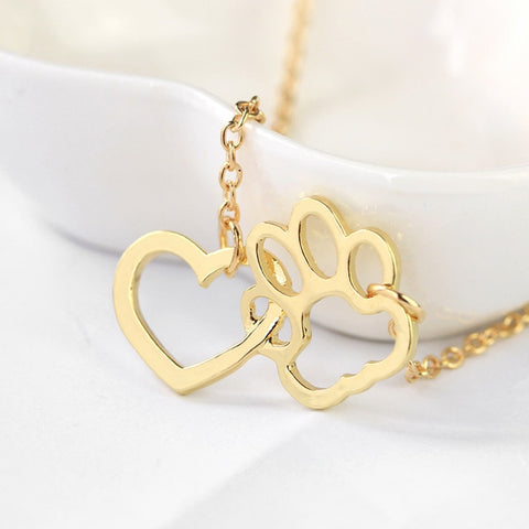 Heart and Paw Dog Lover Necklace