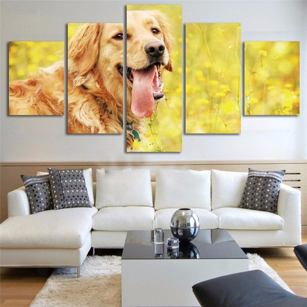 Golden Retriever 5 Piece Wall Art Canvas Print