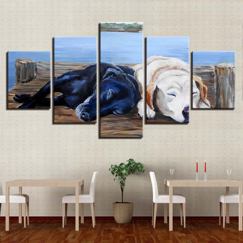Sleeping Dogs 5 Piece Wall Art Canvas Print