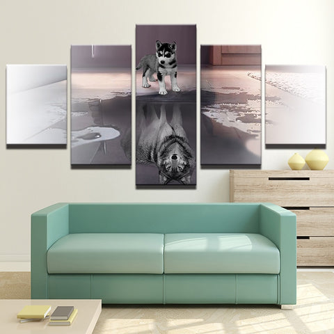 Dog and Wolf Reflection 5 Piece Wall Art Canvas Print