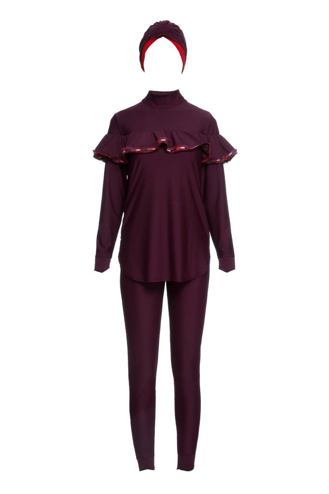 """Frills & Thrills"" Modest Mayo - Bordo"