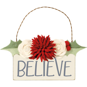 Believe Hand Lettered Ornament