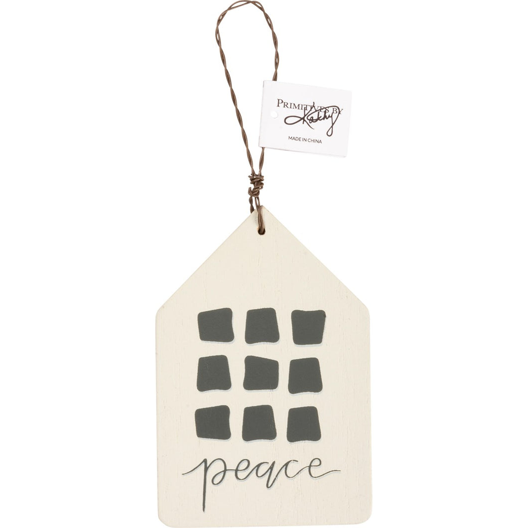 Peace Wood House Ornament
