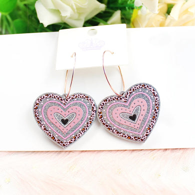 Silver Glitter Acrylic Hoop Heart Earrings