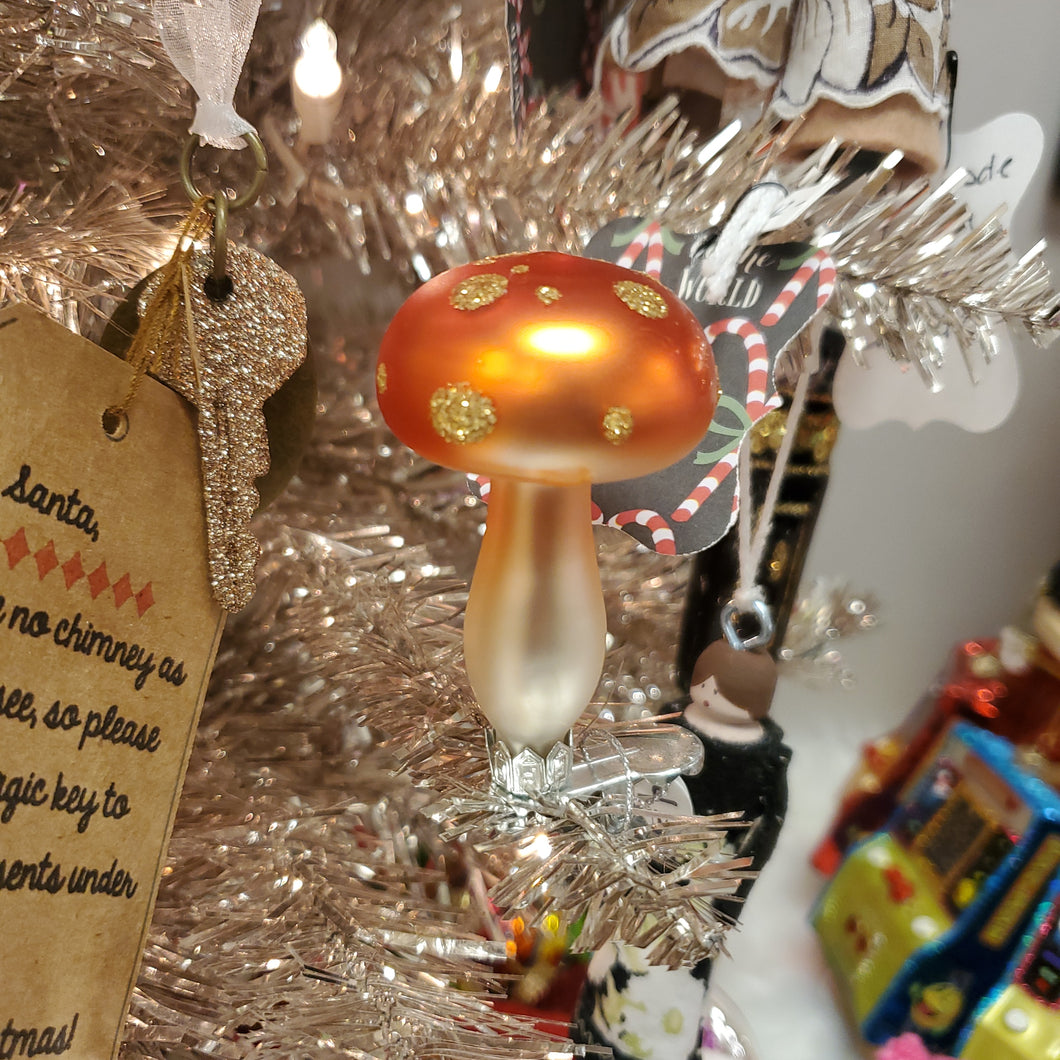 Glitter Orange Mushroom Clip On Ornament