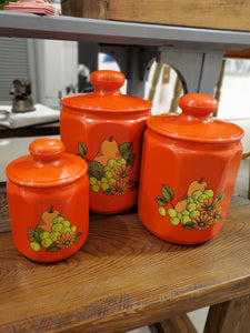 Set of 3 vintage Kromex canisters - Time & Again Shop