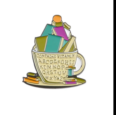 Cup of Books Enamel Pin