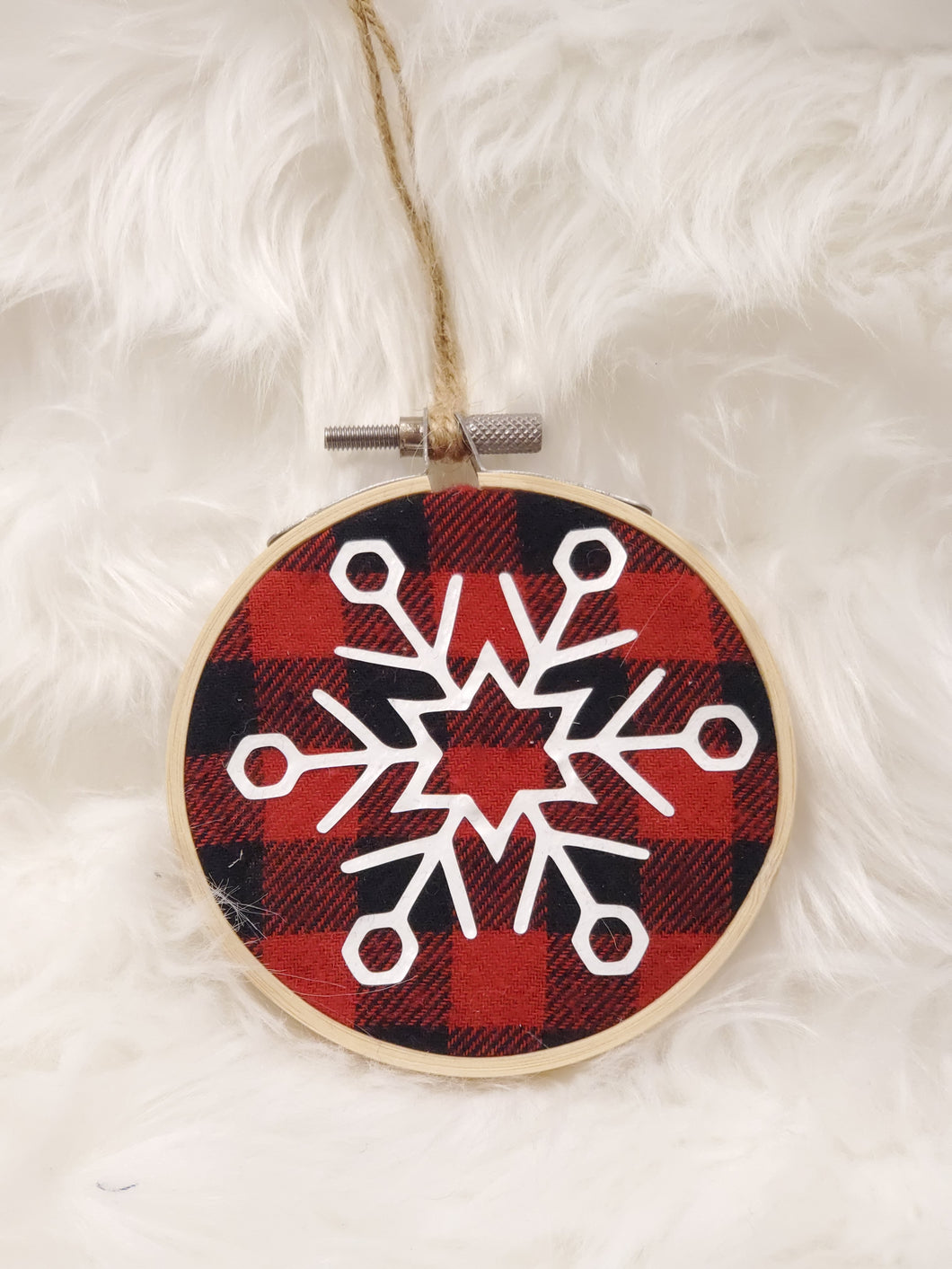 Snowflake Flannel Hoop Ornament