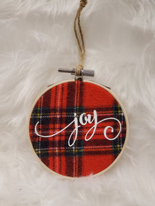 Joy Flannel Hoop Ornament