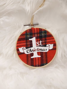 First Christmas Flannel Hoop Ornament