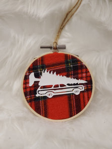 Tree Station Wagon Flannel Hoop Ornament