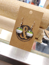 Load image into Gallery viewer, Aromantic Pride Dangle Earrings