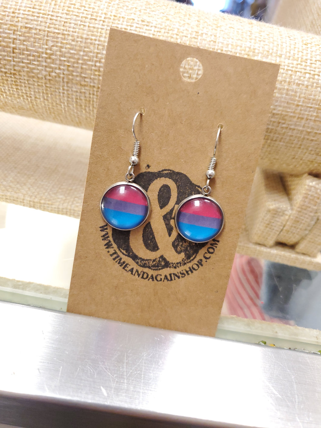 Bisexual Pride Dangle Earrings