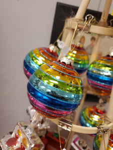 Glass Rainbow Ball Ornament