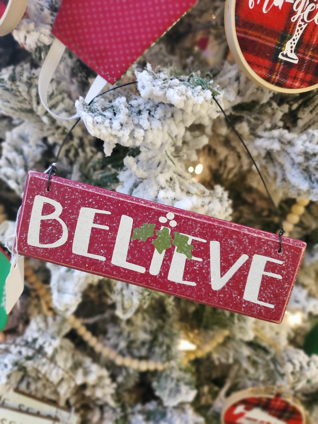 Believe on Red Block Ornament