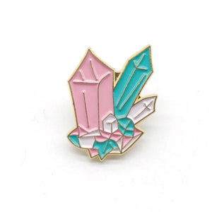 Pink & Blue Crystals Enamel Pin